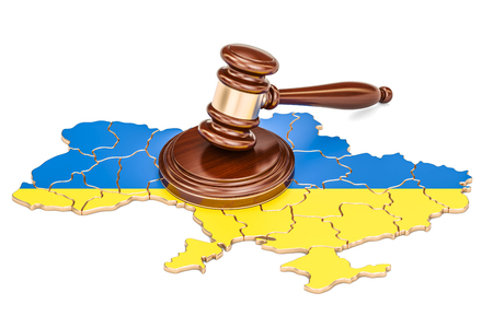 Wooden Gavel on map of Ukraine, 3D rendering isolated on white background Stock Photo