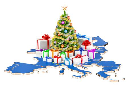 Christmas and New Year holidays in Europe concept. 3D rendering isolated on white background