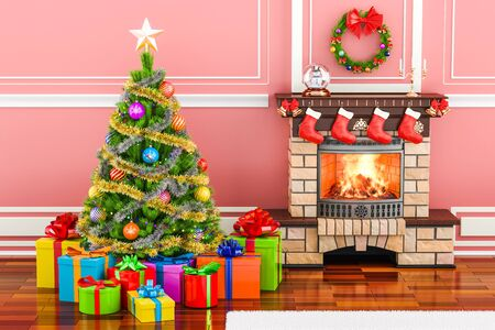 Christmas interior with fireplace, Christmas tree and gift boxes, 3D rendering Stock Photo