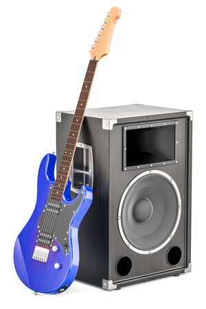 Concert loudspeaker with blue electric guitar, 3D rendering isolated on white background