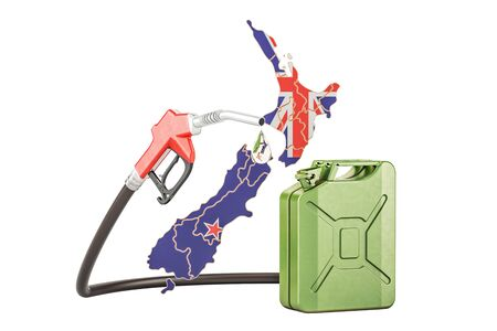 Production and trade of petrol in New Zealand, concept. 3D rendering isolated on white background