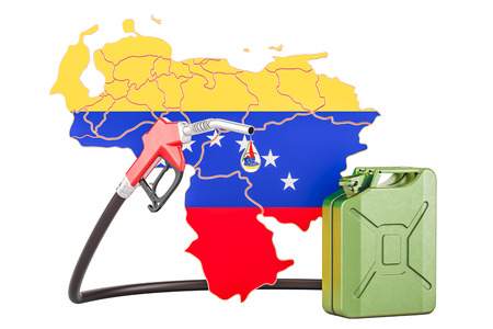 Production and trade of petrol in Venezuela, concept. 3D rendering isolated on white background