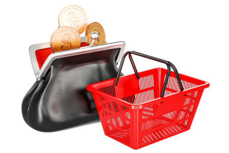 Purse with golden coins and empty shopping basket. Market basket or purchasing power concept. 3D rendering