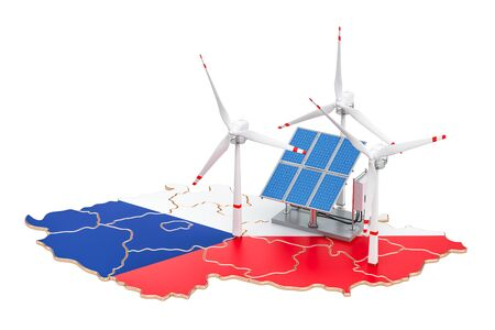 Renewable energy and sustainable development in Czech Republic, concept. 3D rendering isolated on white background