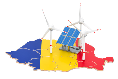 Renewable energy and sustainable development in Romania, concept. 3D rendering isolated on white background Stock Photo