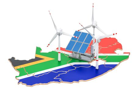 Renewable energy and sustainable development in South Africa, concept. 3D rendering isolated on white background