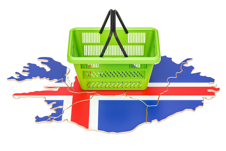 Shopping basket on Iceland map, market basket or purchasing power concept. 3D rendering