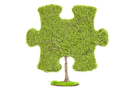 Green tree in the shape of puzzle, 3D rendering isolated on white background