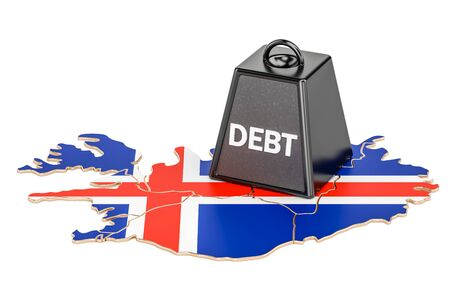 Icelandic national debt or budget deficit, financial crisis concept, 3D rendering