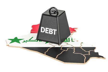 Iraqi national debt or budget deficit, financial crisis concept, 3D rendering Stock Photo