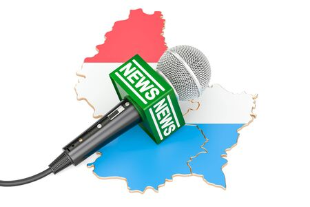 Luxembourg News concept, microphone news on the map. 3D rendering