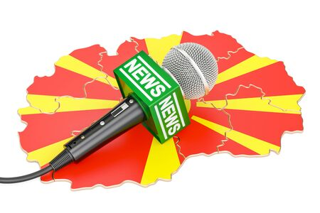 Macedonian News concept, microphone news on the map. 3D rendering Stock Photo