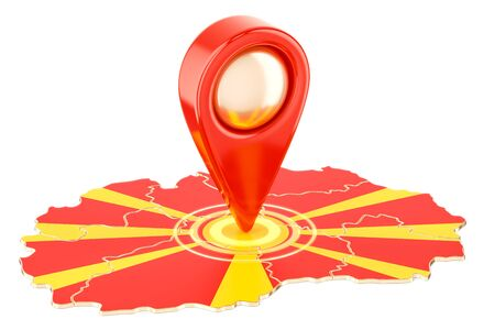 Map pointer on the map of Macedonia, 3D rendering isolated on white background Stock Photo
