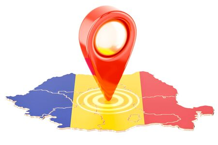 Map pointer on the map of Romania, 3D rendering isolated on white background
