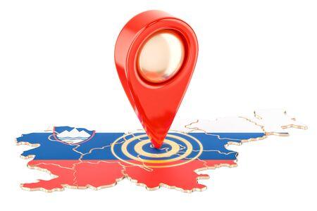 슬로베니아지도, 흰색 배경에 고립 된 3D 렌더링에지도 포인터