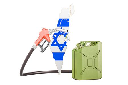 Production and trade of petrol in Israel, concept. 3D rendering isolated on white background