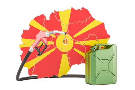 Production and trade of petrol in Macedonia, concept. 3D rendering isolated on white background Stock Photo