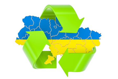 Recycling in Ukraine concept, 3D rendering isolated on white background Reklamní fotografie