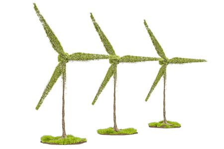 Trees in the shape of wind turbines. Renewable energy concept, 3D rendering isolated on white background