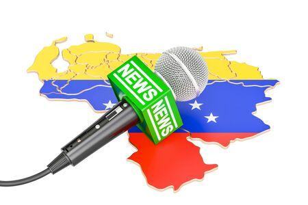 Venezuelan News concept, microphone news on the map. 3D rendering