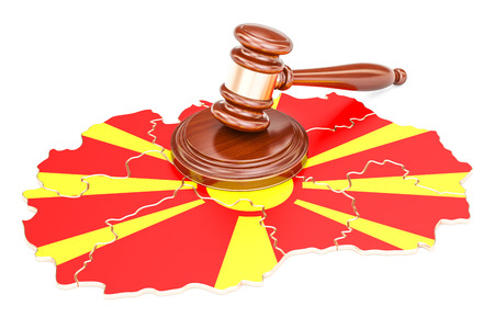 Wooden Gavel on map of Macedonia, 3D rendering isolated on white background Stock Photo