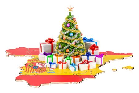 Christmas and New Year holidays in Spain concept. 3D rendering isolated on white background