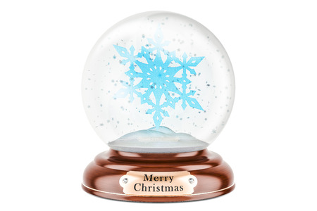 Christmas snow globe with snowflake inside, 3D rendering isolated on white background Stock Photo