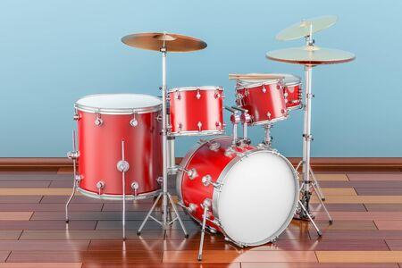 Drum kit indoor, 3D rendering