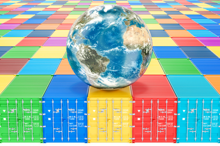 Earth Globe on the cargo containers. Global cargo shipping and delivery concept, 3D rendering Stock Photo