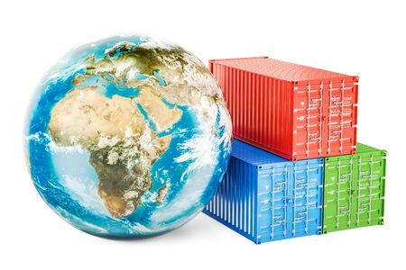 Earth Globe with cargo containers. Global cargo shipping and delivery concept, 3D rendering
