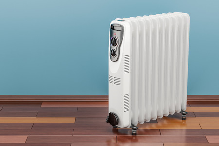 Electric oil heater, oil-filled radiator on the floor. 3D rendering Banco de Imagens