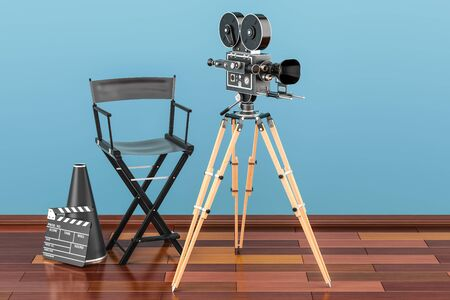 Cinema concept. Movie camera with film reels, chair, megaphone and clapperboard on the wooden floor, 3D rendering