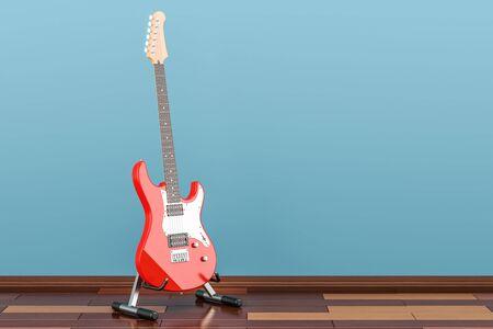 木の床、3 D でスタンド付きのエレク トリック ギターをレンダリング 写真素材
