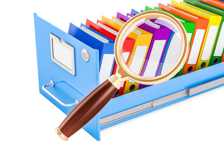 File search concept. Folders inside filing cabinet with magnifying glass, 3D rendering