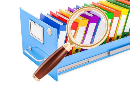 ファイル検索の概念。虫眼鏡、3 D でファイリング キャビネット内のフォルダーの表示