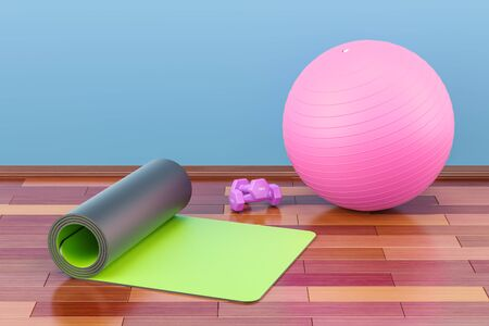 Fitness and sports equipment concept. Yoga mat, dumbbells and fitball 3D rendering
