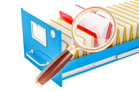 File search concept. Folders with magnifying glass, 3D rendering