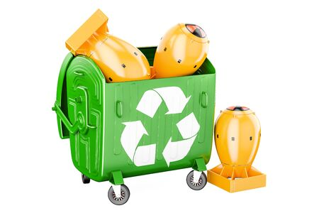 Garbage container with nuclear bombs. Recycling and disposal concept, 3D rendering