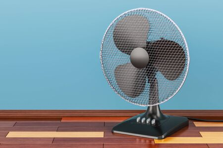 Table fan, on the wooden floor, 3D rendering