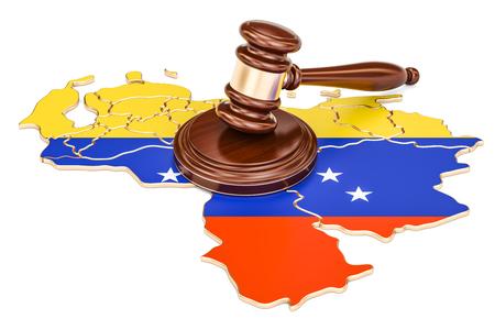 Wooden Gavel on map of Venezuela, 3D rendering isolated on white background