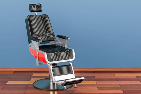 Black Barber Chair in room on the wooden floor, 3D rendering
