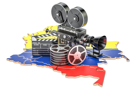 Colombian cinematography, film industry concept. 3D rendering isolated on white background