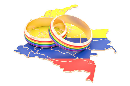 Colombian map with LGBT rainbow rings, 3D rendering