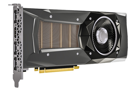 computer video card GPU, 3D rendering isolated on white background
