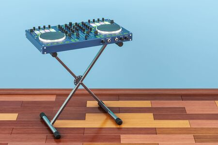 DJ Console in room on the wooden floor, 3D rendering Stock Photo