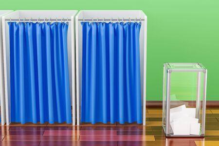 Élection urne avec des cabines de vote dans la chambre sur le plancher en bois, rendu 3D