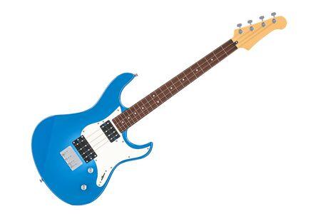 エレキベースギター、白い背景に隔離された3Dレンダリング 写真素材