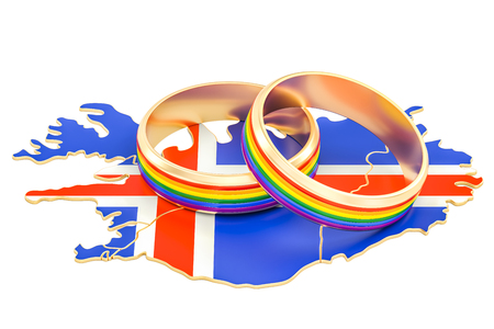 Icelandic map with LGBT rainbow rings, 3D rendering