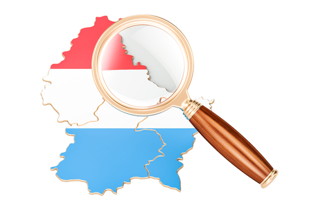 Luxembourg under magnifying glass, analysis concept, 3D rendering isolated on white background