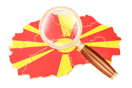Macedonia under magnifying glass, analysis concept, 3D rendering isolated on white background